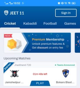 Click on the Sign In Button at the top of the Jeet11 app