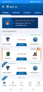Open the app and select cricket.